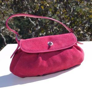 Ann Taylor Fuchsia Pink Suede Clutch Bag